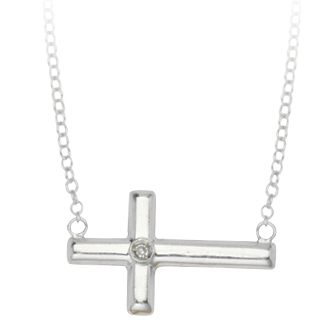 Sterling Silver 5/8in Sideways Cross Necklace with Diamond Accent