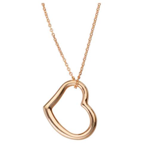 14kt Rose Gold 5/8in Sideways Open Heart Necklace