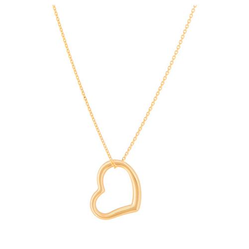 14kt Yellow Gold 5/8in Sideways Open Heart Necklace