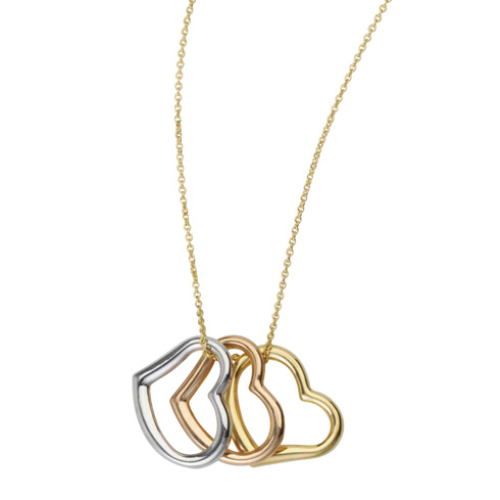 14kt Tri-Color Gold Sideways Open Heart Necklace