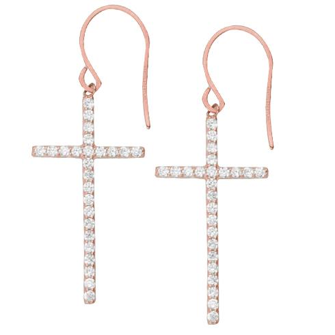 Rose Gold-plated Sterling Silver 1 1/4in CZ Dangle Cross Earrings