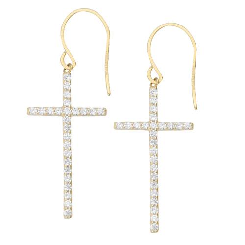 Gold-plated Sterling Silver 1 1/4in CZ Dangle Cross Earrings
