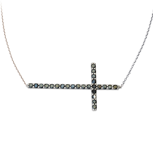 Sterling Silver 1 1/8in Black CZ Sideways Cross 18in Necklace