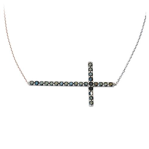 Sterling Silver 1 1/8in Black CZ Sideways Cross 18in Necklace