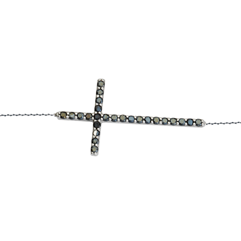 Sterling Silver 1 1/8in Black CZ Sideways Cross Bracelet