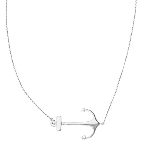 14kt White Gold Sideways Anchor 18in Necklace