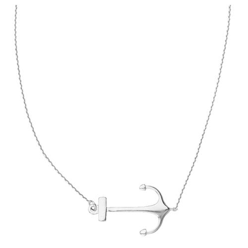 14kt White Gold Sideways Anchor 18in Necklace