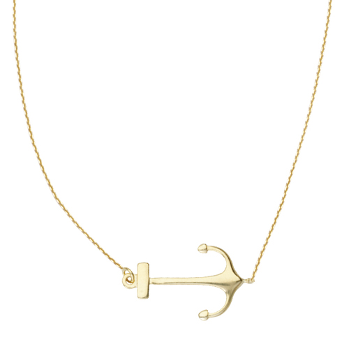 14kt Yellow Gold Sideways Anchor 18in Necklace