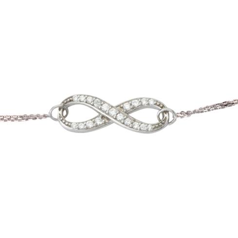 14kt White Gold Cubic Zirconia Infinity Bracelet