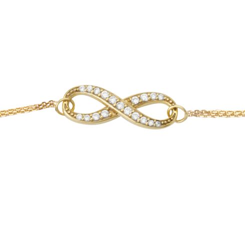 14kt Yellow Gold Cubic Zirconia Infinity Bracelet