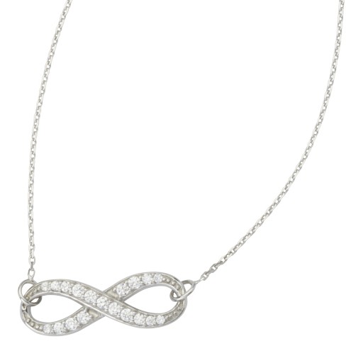 14kt White Gold Cubic Zirconia Infinity 18in Necklace