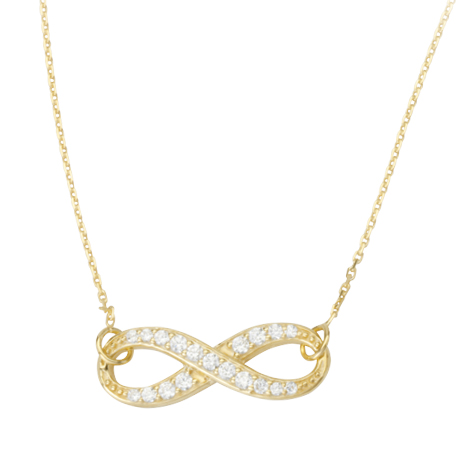 Gold-plated Sterling Silver Cubic Zirconia Infinity Necklace