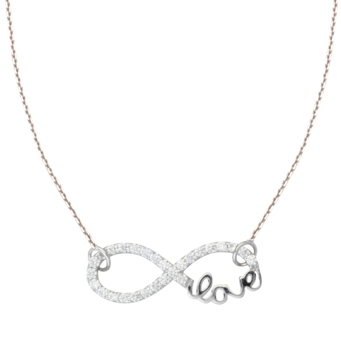 Sterling Silver Cubic Zirconia Infinity Love Necklace