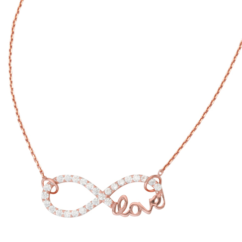 Rose Gold-plated Sterling Silver CZ Infinity Love Necklace