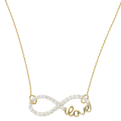 Gold-plated Sterling Silver CZ Infinity Love Necklace