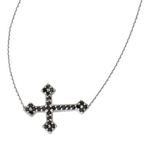 Sterling Silver Black CZ Sideways Fancy Cross Necklace