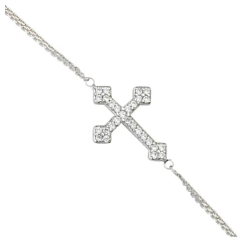 Sterling Silver CZ Sideways Fancy Cross Bracelet