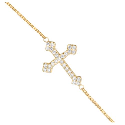 Gold-plated Sterling Silver CZ Sideways Fancy Cross Bracelet