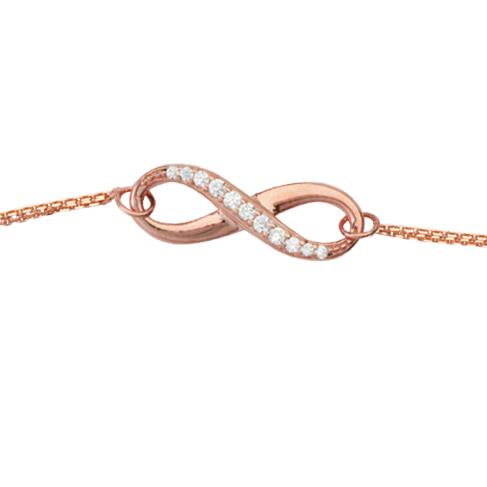14kt Rose Gold Cubic Zirconia Half Infinity Bracelet