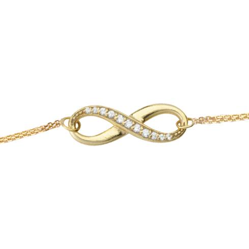 14kt Yellow Gold Cubic Zirconia Half Infinity Bracelet