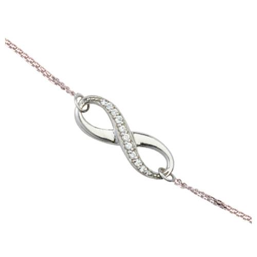 Sterling Silver Cubic Zirconia Half Infinity Bracelet
