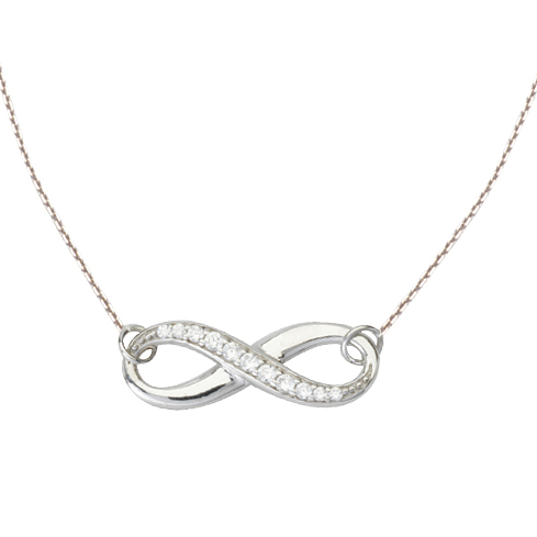 14kt White Gold Cubic Zirconia Half Infinity 18in Necklace