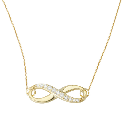14kt Yellow Gold Cubic Zirconia Half Infinity 18in Necklace