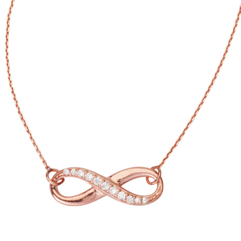 Rose Gold-plated Sterling Silver Cubic Zirconia Infinity Necklace