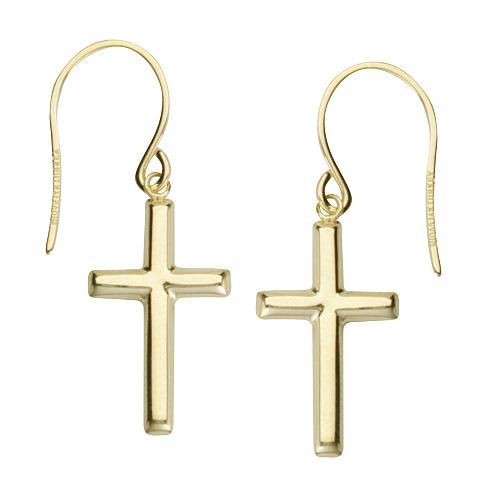 Gold-plated Sterling Silver 3/4in Dangle Cross Earrings