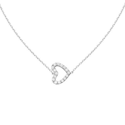 14kt White Gold Mini Cubic Zirconia Sideways Heart Necklace