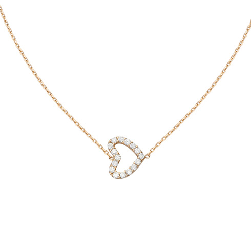 14kt Rose Gold Mini Cubic Zirconia Sideways Heart Necklace