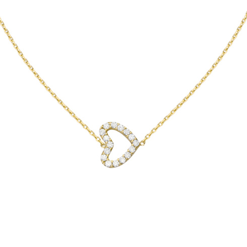 14kt Yellow Gold Mini Cubic Zirconia Sideways Heart Necklace