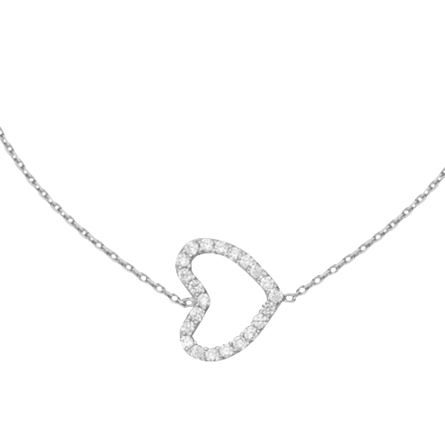 14kt White Gold Cubic Zirconia Sideways Heart 18in Necklace