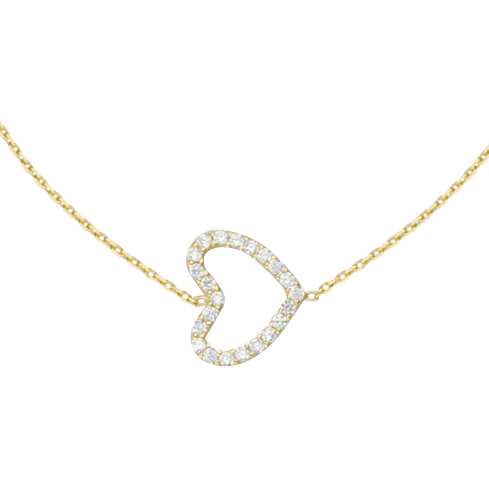 14kt Yellow Gold Cubic Zirconia Sideways Heart 18in Necklace