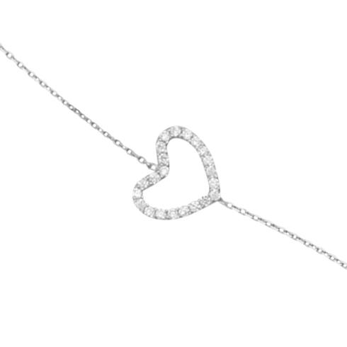14kt White Gold Cubic Zirconia Sideways Heart Bracelet