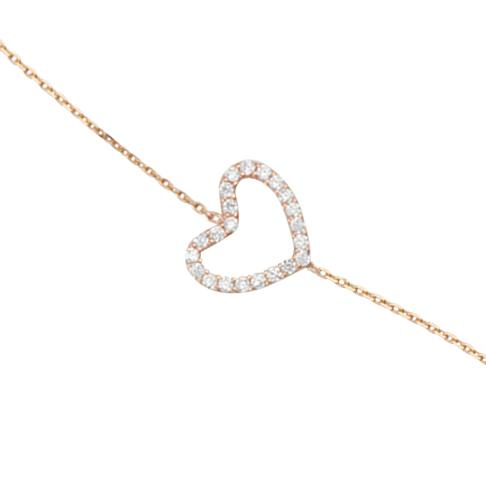 14kt Rose Gold Cubic Zirconia Sideways Heart Bracelet