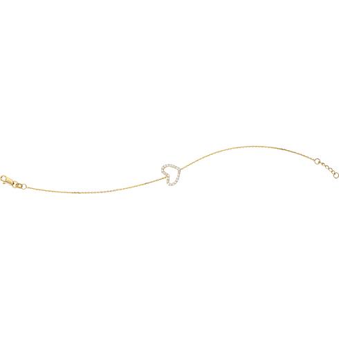 14kt Yellow Gold Cubic Zirconia Sideways Heart Bracelet