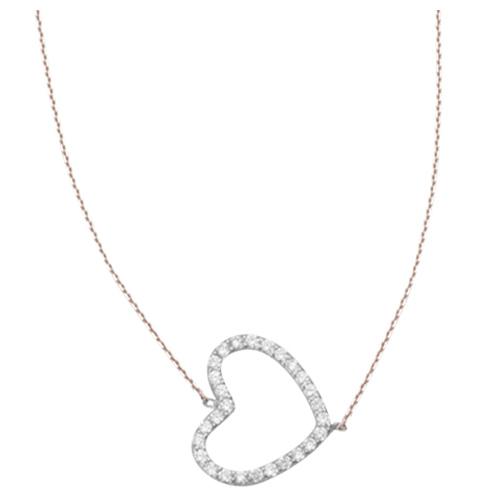 Sterling Silver Cubic Zirconia Sideways Heart Necklace