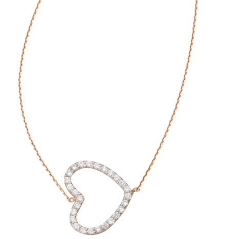Rose Gold-plated Sterling Silver Cubic Zirconia Sideways Heart Necklace