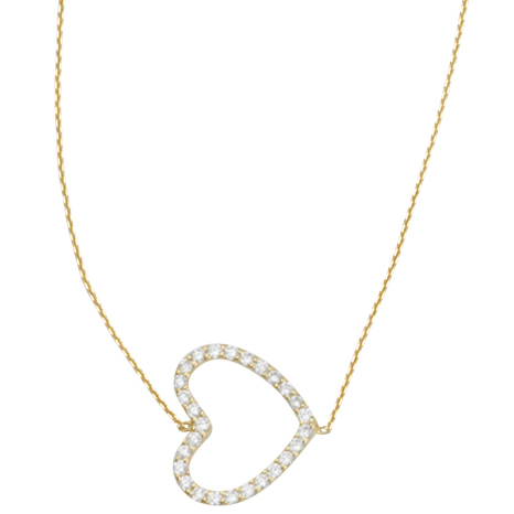 Gold-plated Sterling Silver Cubic Zirconia Sideways Heart Necklace
