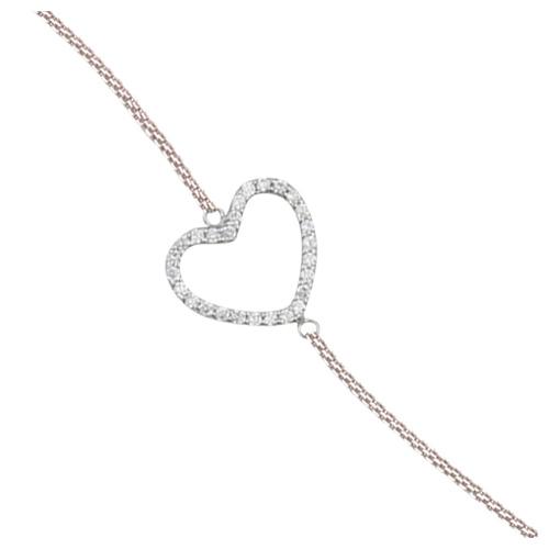 Sterling Silver Cubic Zirconia Sideways Heart Bracelet