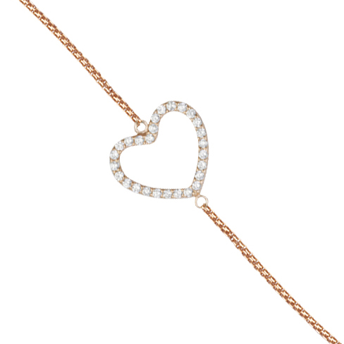 Rose Gold-plated Sterling Silver Cubic Zirconia Sideways Heart Bracelet