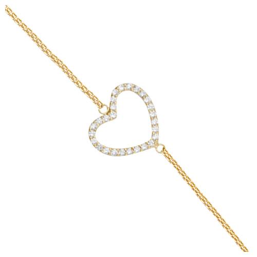 Gold-plated Sterling Silver Cubic Zirconia Sideways Heart Bracelet