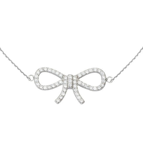 14kt White Gold Cubic Zirconia Bow 18in Necklace