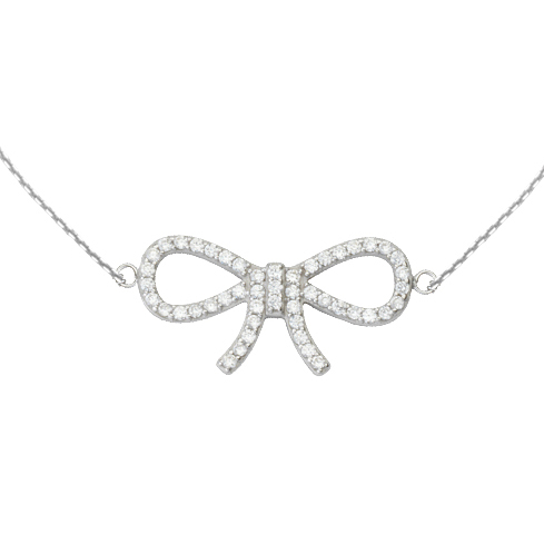 Sterling Silver Cubic Zirconia Bow 18in Necklace
