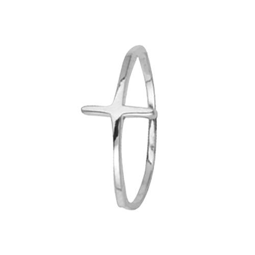 14kt White Gold Sideways Cross Ring