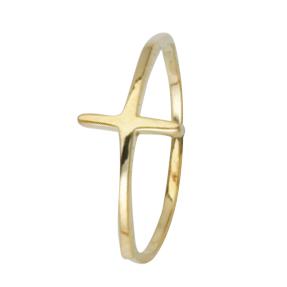 14kt Yellow Gold Sideways Cross Ring