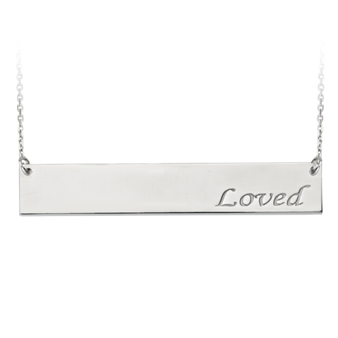Sterling Silver Loved Bar 18in Necklace