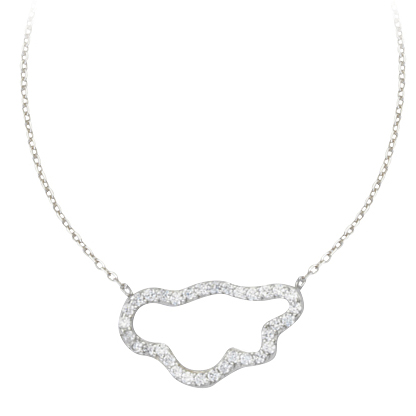 Sterling Silver Cubic Zirconia Cloud 18in Necklace