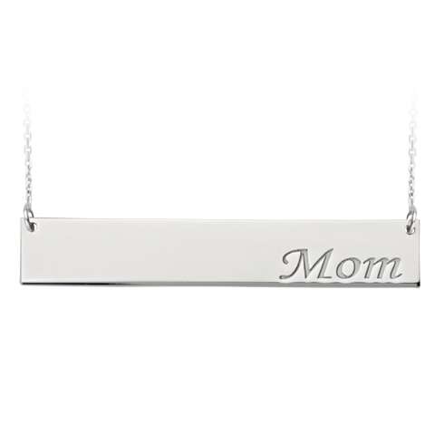 Sterling Silver Mom Bar 18in Necklace